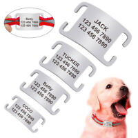 "Dog Name Tags Personalised Slide On 1/4""-1.0"" Wide Collars No Noise Tags 4 Sizes"