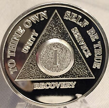 One Year Alcoholics Anonymous AA Silver Plated Anniversary Medallion Chip Coin 1