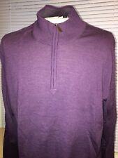 SAKS FIFTH AVENUE Wool  Men's 1/2 Zip Mock Neck Sweater Grape Vine XXL 2XL  New