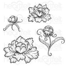 Heartfelt Creations Peony Bud and Blossom Cling Stamp Set HCPC-3821