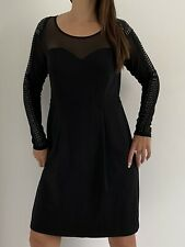 CITY CHIC Black Mesh Embellished Long Sleeve Bodycon Dress Plus Size XS 14 Party