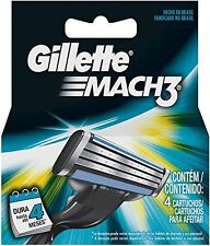 Gíllette Mach 3 Razor Refill Cartridges 4 Ct closer shave up to 100% redness fre