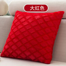 Solid Bright Color Grids Checks Pillow Case Home Sofa Soft Velvet Cushion Cover