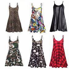 NEW WOMENS LADIES CAMO TARTAN LEOPARD PRINT CAMI SWING DRESS TOP PLUS SIZE 8-22