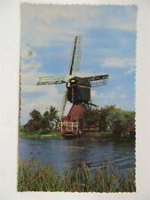 Vintage Postcard - Dutch Windmill Near River - Netherlands - Postmarked 1959