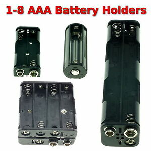 1-8 AAA Battery Holder Box with Switch PP3 Clip/ Wire/ Solder Tags/ JR Lead