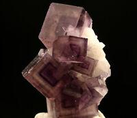 NEW Natural Purple phantom Fluorite Mineral Specimen YaoGangXian HuNan 10.6g