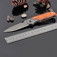 Red Acid Wood Handle BRN Knife Outdoor Camping Hunintg Saber Pocket Tool Gift