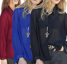 Size UK 10-26 Ladies Plus Size See Through Blouse Top Black Blue Red Long Sleeve