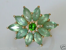 Beautiful 9ct Gold Green Apatite & Chrome Diopside Ring Size J