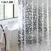 WATERPROOF BATHROOM SHOWER CURTAIN EXTRA WITH 12 HOOKS RING SET 180x180CM