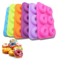 6-Cavity Silicone Donut Baking Pan Non-Stick Mold Dishwasher Decor Kitchen Tool