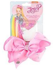 Jojo Siwa Large Rhinestone Signature Hair Bow Earrings & Necklace Girls' Fashion 518741 Pink