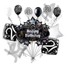 11 pc 21st Happy Birthday Balloon Decoration Party Elegant Adult Black White
