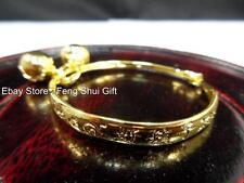 Kid Children Gold Chinese Oriental Round Cuff Bangle Bracelet Feng Shui Jewelry