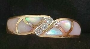 Kabana 14k Rose Gold Mother Of Pearl Diamond Ring- Gold Band-Estate Jewelry 4.7g