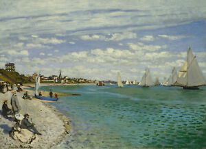 Regatta at Sainte Adresse by Claude Monet, Giclee Canvas Print, various sizes