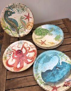 "Pier 1 Seahorse Octopus Turtle 9"" Melamine 8 Plates Spikey Otto Coastal Decor"