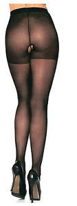 Sheer Pantyhose Crotchless Nylon Reg or Plus Queen Black Leg Avenue 1905 Q