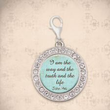 CHRISTIAN LATCH CHARM Bible Scripture John 14:6 USA MADE Silver Plated, Clip-on