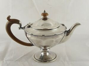 SMART ANTIQUE SOLID STERLING SILVER TEAPOT 1914 E S BARNSLEY 303 g