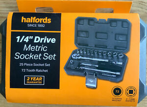 "Halfords 1/4"" Socket Set Kit 25 Piece Drive Metric Socket Set"