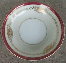 Made in Japan Fruit Dessert Bowl White Center w/ Cream, Red Border, Gold Trim