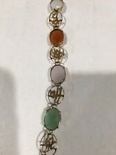 14K Yellow Gold Bracelet Multi-Color Jade Cabochon Chinese Character