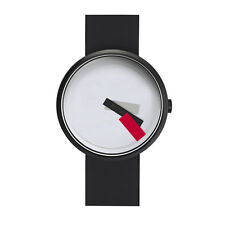 "Projects Watches ""Suprematism Red"" Acier IP Noir Blanc Silicon Montre Unisex"