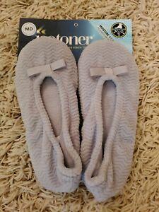 NWT Isotoner Womens Light Gray Terry Ballerina Slippers Size Medium 6.5-7.5 NEW