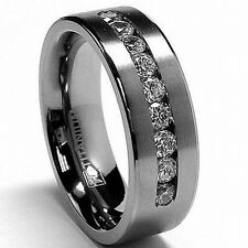 Men's 8 MM Titanium ring wedding band with 9 large Channel Set CZ sizes 7 to 15