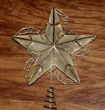 """CHRISTMAS CAPIZ SHELL """"GLASS OYSTER"""" VICTORIAN GOLD SCROLL STAR TREE TOPPER TOP"""