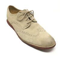 Men's Cole Haan Grandsprint Oxfords Shoes Size 12M Beige Suede Wingtip Brogue Q4