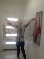 Gorgeous large Cream OWLS sarong, scarf, shawl, wrap 183x89cm polyester