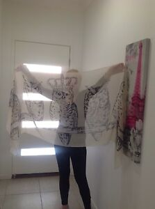 Gorgeous large Cream OWLS sarong, scarf, shawl, wrap 183x89cm polyester