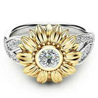 Women's Two Tone Silver Floral Ring Round Diamond Gold Sunflower Jewelry Rings