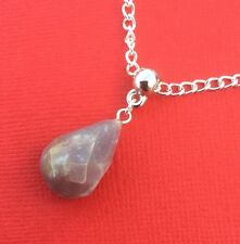 NEW! Indian Agate Gemstone Faceted Drop Pendant Necklace - Aussie Seller!!!