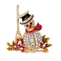 Diamantes de imitación de cristal  Muñeco de nieve Navidad Broche Pin Regalo