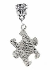 Autism Awareness Jigsaw Puzzle Piece Dangle Charm for Silver European Bracelets