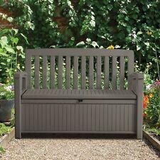 KETER legno panchina giardino 265L STORAGE BOX PER SEDIA in Marrone resistenza alle intemperie