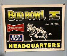 Bud Budweiser Beer Poster Bud Bowl 1 January 22, 1989 Rare Super Bowl Poster
