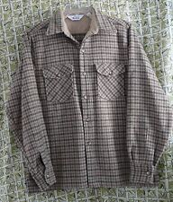 Woolrich Shirt Mens Brown Plaid Vintage 60's Era Large Long Sleeve Button Front