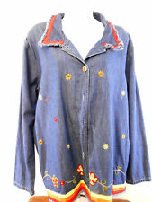 BOBBIE BROOKS WOMENS XL 16/18 DENIM SHIRT EMBROIDERED FLOWERS MED STONE COLOR