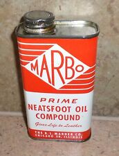VINTAGE MARBO NEATSFOOT OIL COMPOUND DISPLAY CAN EMPTY 8 OZ