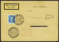 DR 1927, MiNr. 409 Einzelfrankatur auf Luftpost-Fernbrief, Mi. 600,-