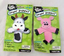 Foam Zone Craft Kit Wiggle Eyes Farm Animal Dairy Cow Pig Hog Finger Puppet Set