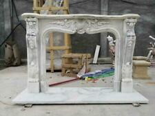 BEAUTIFUL HAND CARVED MARBLE FRENCH STYLE FIREPLACE MANTEL - FG23