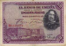1928 SPAIN 50 PESETAS BANKNOTE