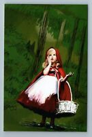 RED RIDING HOOD Little Girl Forest Fairy Tale by Khalizova Russian New Postcard