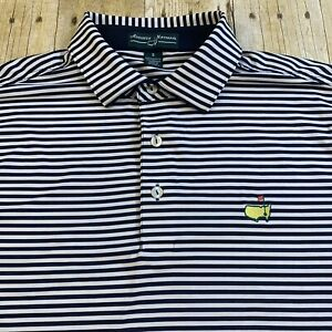 Augusta National Masters Performance Polyester Small Striped Polo Golf Shirt